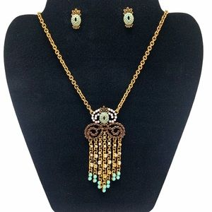 Plunder Pineapple Necklace Earring Statement Set
